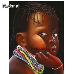 portrait 3d UK - 5D rhinestone DIY diamond Painting portrait full square round drill African boy 3d embroidery Diamond Mosaic Cross Stitch TT318