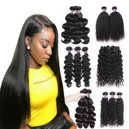 8-28inch Loose Deep Body Wave Human Hair Bundles 3 4 5pcs Peruvian Yaki Straight Human Hair Extensions Water Curly Virgin Hair Weave Bundles on Sale
