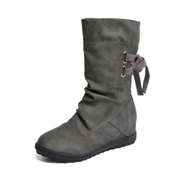 Lady Snow Boots Mid Calf Australia - 2017 new fashion Women Winter Snow Boots Mid-Calf Solid Wedges Ladies Shoes lace-up flats boots Warm Martin Boots