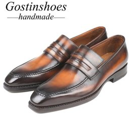 $enCountryForm.capitalKeyWord NZ - GOSTINSHOES HANDMADE Luxury Mens Loafers Handmade Brown Hand-Painted Slip-On Genuine Leather Goodyear Welted Casual Shoes Men SCT02