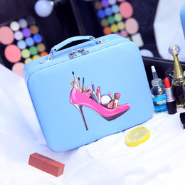 making light box Australia - Designer-2017 Hot professional PU Make up Box Portable Cartoon Makeup Cases Leather Hot Beauty Cases Trunk Hand Held Cosmetic Bag