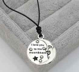 $enCountryForm.capitalKeyWord Australia - Hot Sell! 20pcs lot Tibetan Silver I Love you to the Moon and back Necklace Choker charms Pendant Black Leather Necklace