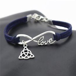 $enCountryForm.capitalKeyWord Australia - 2019 Minimalist Single Silver Infinity Love Triangle Triquetra Symbol Trinity Knot Pendant Bracelet For Women Men Navy Leather Suede Jewelry