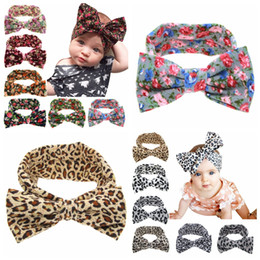 Wholesale Baby Floral Large Bow Headbands Cute Toddler Rabbit Ears Headband Kids Leopard Headwear Infant Party Hair Accessories TTA1450