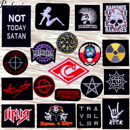 $enCountryForm.capitalKeyWord Australia - Pulaqi Metal Bands Rock Stripe Patch Embroidered Iron On Patches On Clothes Punk Fabric Badges DIY Patches For Clothing Applique