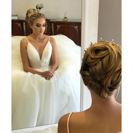 beach wedding dresses short deep v 2019 - New Backless Beach Wedding Dresses Sexy Deep V Neck Front Beaded Country Wedding Dress Cheap Spring Garden Bridal Gowns