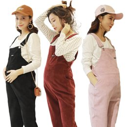 Overalls Jumpsuits For Women NZ - New Jumpsuit Maternity Pants Long Corduroy Pregnancy Clothes For Pregnant Women Overall Roupa Gestante Trousers Autumn Maternite
