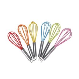 wholesale wire whisk UK - Big deal New Handle Whisk silicone Kitchen Mixer Balloon Wire Egg Beater Tool