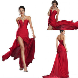 $enCountryForm.capitalKeyWord Australia - Sexy High Slit Long Prom Dresses Sweetheart Strapless Cheap Chiffon Red Formal Evening Gowns Plus Size Vintage Simple Cocktail Party Dress