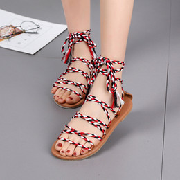 $enCountryForm.capitalKeyWord Australia - Summer Flat with Gladiator Sandals Women Ankle Strap Front Rear Strap Rome Sandals Mixed Colors Bohemian Shoes