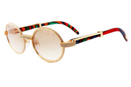 Unique Sunglasses Brands Australia - Brand new unique full frame full diamond glasses 7550178 (A) high-end luxury color peacock wooden temple sunglasses,