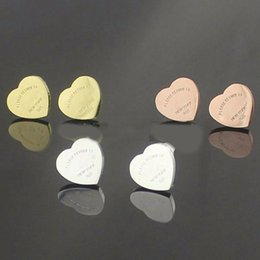Wholesale Fashion Brand L Stainless Steel Heart Letters Stud Earrings mm Titanium SteelQuality NEW YORK women Love Earrings