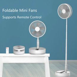 Wholesale fans floor resale online - Office Home Portable USB Fan Foldable Chargeable Floor Desktop Fans Air Cooler with IR Remote Control Telescopic Air Conditional