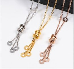 Resin Rose jewelRy online shopping - Titanium Steel Spring Tassel Necklace Rose Gold Hanging Circle Girl Gift Clavicle Chain Titanium Steel Sweater Chain Jewelry