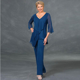 weddings dress pants Canada - Royal Blue Beaded Mother Of The Bride Pant Suits V Neck Long Sleeves Tiered Wedding Guest Dress Plus Size Chiffon Mothers Groom Dresses