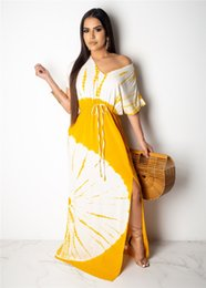 lemon print dresses NZ - Sexy Spilt With Lemon Print Womens Summer Maxi Dress Fashion V Neck Casual Batwing Sleeve Dress