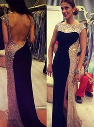 Miss Sexy Dress Australia - Luxury Crystal Mermaid Evening Dresses Major Beading Latest 2019 Sexy Backless Side High Slit Prom Dress USA Miss Illusion Pageant Gowns