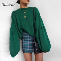 Wholesale loose baggy sweaters for sale - Group buy Nadafair Autumn Oversized Sweaters Women Loose Long Lantern Sleeve Knitted Sweater Black Baggy Winter Turtleneck Sweater Female