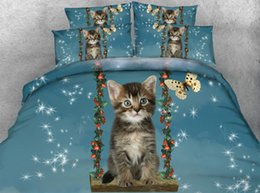 animal print queen quilt covers UK - Cat Duvet Cover Twin Girls Butterfly Bedding Full Blue Bedspreads King Size Galaxy Pillow Case 3pc NO Comforter NO Quilt