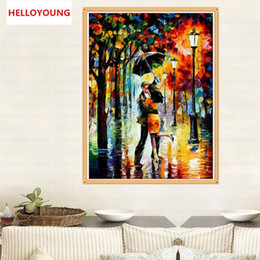 $enCountryForm.capitalKeyWord Australia - DIY 5D Diamond Embroidery Romantic Rain Lovers Round Diamond Painting Cross Stitch Kit Mosaic Painting Home Decoration