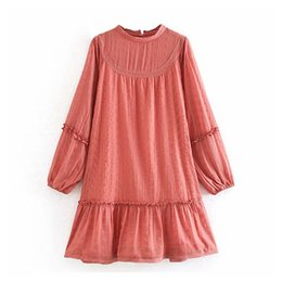 mini robe vintage Canada - Women Solid Embroidery Chiffon Dress O Neck Lantern Long Sleeve Pleated Dress Vintage Hollow Out Female Mini Dress Robe Femme