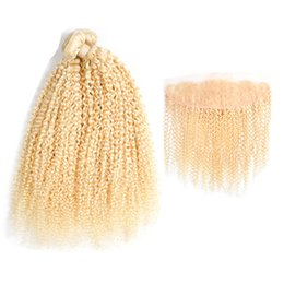 $enCountryForm.capitalKeyWord UK - Peruvian Virgin Kiny Curly 613 Blonde Bundle Hair with Lace Frontal 13*4 inch 2 Pcs Human Hair with Pre Plucked Closure Frontal