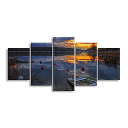 Art Canvas Prints Australia - 5 pieces high-definition print Sunrises and sunsets canvas prints painting poster and wall art living room picture RCRL5-002