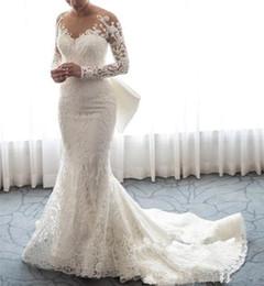 Long Bridal Robes NZ - 2019 Luxury Sheer Neck White Lace Mermaid Wedding Dresses Detachable Train Bridal Gowns With Bow Long Sleeves Bridal Dresses Robe De Mariée