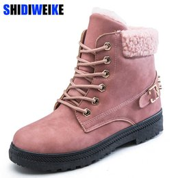 boots warm up Australia - New Women Boots Lace up Solid Casual Ankle Boots Booties Round Toe Women Shoes winter snow boots warm british style Pink n517