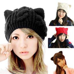 $enCountryForm.capitalKeyWord NZ - 2018 Lovely New Fashion Women Cap Devil horns Cat Ear Crochet Braided Knit Ski Beanie Wool Cap Warm Beret Winter Hat For Women