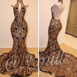 $enCountryForm.capitalKeyWord Australia - Elegant Sleeveless Mermaid Collar Backless Gold Prom Dresses 2019 Gold Lace Applique Formal Gowns Evening Party Dresses BC1179