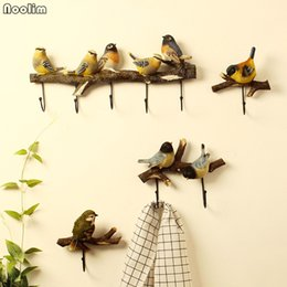 keys hook rack NZ - NOOLIM Bird Clothes Hook Door Entrance Key Storage Holder Creative Pastoral Wall Coat Hat Rack Wall Hanging Hook Wall Decoration T200413