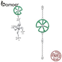 Wholesale jump animals for sale – custom BAMOER Authentic Sterling Silver Jumping Frog Green Zircon Drop Earrings for Women Long Chain Animal Earrings Jewelry BSE027