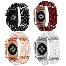 Fashion pearl bracelets online shopping - Straps for Apple Watch Band Fashion Handmade Beaded Elastic Stretch Faux Pearl Bracelet Women watchband for iWatch Series
