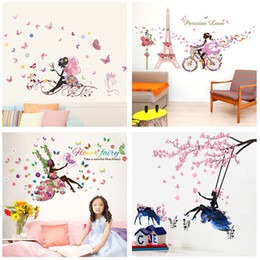 plane gifts NZ - Butterfly Flower Fairy Wall Stickers for Kids Rooms Bedroom Decor Diy Cartoon Wall Decals Mural Art PVC Posters Children's Gift