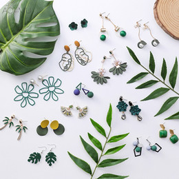 $enCountryForm.capitalKeyWord Australia - AOMU Summer Green Forest Series Acrylic Flower Dripping Oil Cactus Crystal Pearl Metal Ball Long Tassel Earing for Women Girl
