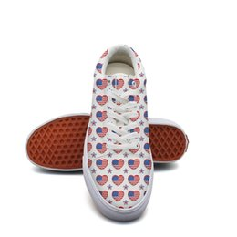 American Canvas Print Australia - Men's canvas athletic sneakers 4th of July American flag independent heart tennis sneakers Lightweight port Lace-up tennis shoes Breathabl l