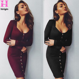 $enCountryForm.capitalKeyWord NZ - 2018 Autumn Dress Women Bodycon Sheath Dress Ladies Long Sleeve Party Dresses Back Full Button Robe Sexy Pencil Tight