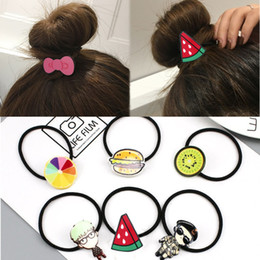 cartoon fruit watermelon Australia - 5PCS New Girls Women Cartoon Character Animal Fruit Hair Accessories Fashion Kids Candy Rubber Bands Gum Child Novelty Headwear