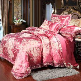 Wedding quilt set online shopping - Sliver Golden Luxury Satin Jacquard bedding sets bed Duvet Cover set Super king size pillowcases Wedding decor quilt cover