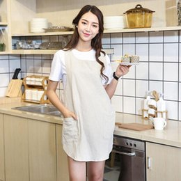 $enCountryForm.capitalKeyWord Australia - Women Cotton Linen Apron Japanese Style Cross Back Solid Color Cooking Kitchen Apron Simple Housework Wrap Pinafore With Pocket