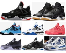 Mid Pack NZ - 2019 Bred 4s SE Laser Black Gum Hot Punch Men Basketball Shoes 4 Motorsport Game Royal Fear Pack Military Blue Sneakers With Box