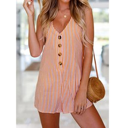 rompers buttons NZ - KLV Rompers Womens Jumpsuit Womens Holiday Button Striped Mini Playsuit Ladies Summer Beach Jumpsuit For 2018