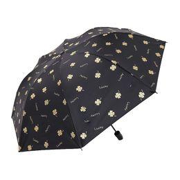 Umbrellas Black Australia - Three Folding Umbrellas Four-leaf Clover Black Coating Sunscreen Anti-UV Sunny Rainy Umbrella Men Women Dual-use Umbrellas
