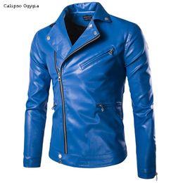 $enCountryForm.capitalKeyWord Australia - Fashion New Men's Leather Jacket Black & Blue Slim fit Biker Motorcycle jacket Coats 5XL 3XL 4XL 2XL COML39 Free Shipping