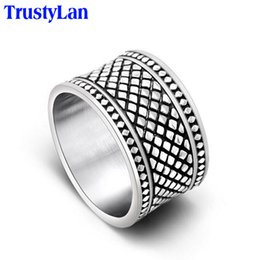 Mens Cluster Rings Australia - Fashion Jewelry Rings TrustyLan Super 13MM Wide Cool Man Ring Male Stainless Steel Mens Rings Big Size 12 13 Quality Jewelry Punk