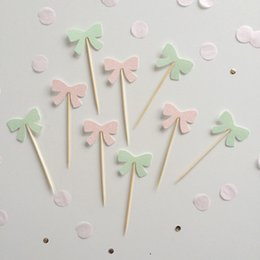 $enCountryForm.capitalKeyWord Australia - glitter MINT PINK bows Cupcake Toppers birthd Cupcake Toppers Picks baby shower wedding birthday toothpicks decorations Party Supplies Event