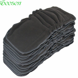 wholesale bamboo liners NZ - Baby Cloth Diaper 5 PCS Reusable Bamboo Charcoal Insert Mat Nappy Inserts Changing Liners 5layer Gussets Bamboo Charcoal Insert