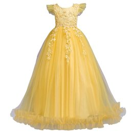 Discount long evening gowns for kids Fancy Princess Party Dresses for Girls Long Sleeveless Flower Party Evening Dresses Kid Prom Wedding Children Dress