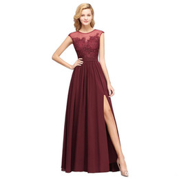 $enCountryForm.capitalKeyWord UK - 2019 Burgundy Chiffon Long Bridesmaids Dresses Sheer Cap Sleeves Lace Applique Split Wedding Guest Maid Of Honor Dresses Real Image BM0146